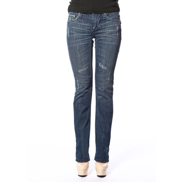 Stitch's Women's Curvy Worn Blue Straight Leg Denim Jeans