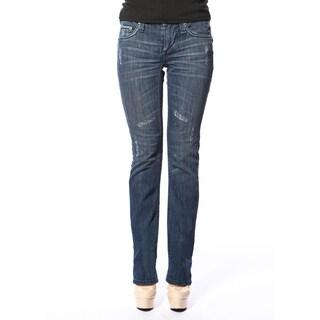 Stitch's Women's Curvy Worn Blue Straight Leg Denim Jeans