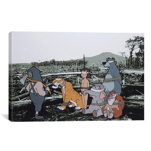 Banksy 'Jungle Book Execution' Gallery Wrapped Canvas Print Wall Art