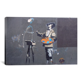 Banksy 'Vertical Of An Artist' Gallery Wrapped Canvas Print Wall Art