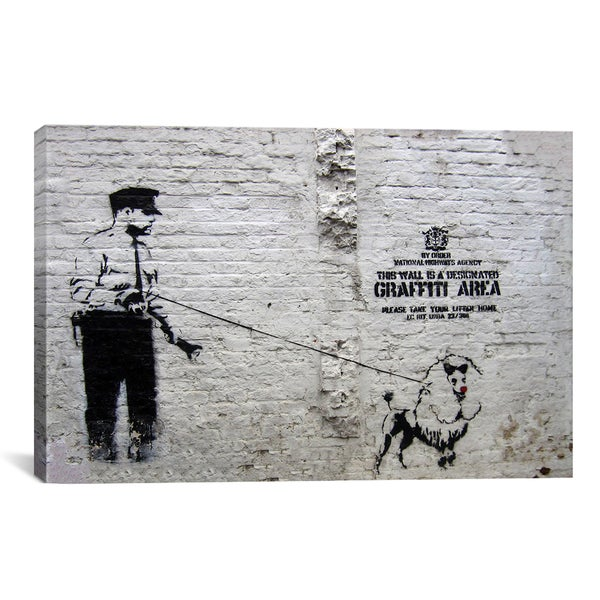 Banksy 'Designated Graffiti Area (Police and a Dog)' Gallery Wrapped Canvas Print Wall Art