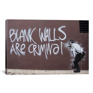 Banksy 'Blank Walls Are Criminal' Gallery Wrapped Canvas Print Wall Art