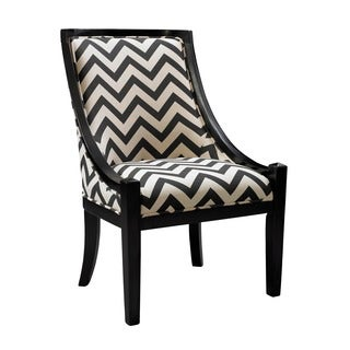 Linon Carnegie Black Chevron Chair
