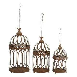 Fine-detail Brown Finish Metal 3-piece Hanging Planter Set
