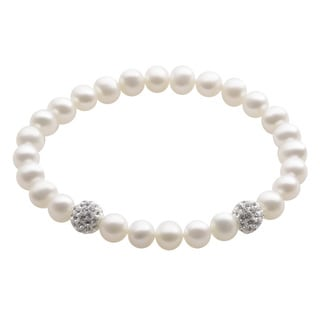 White Freshwater Pearl and Crystal Bead Bracelet (7-8 mm)