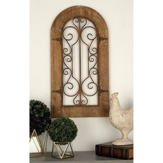 Wooden and Metal Wall Panel with Stately Design and Antiqued Look