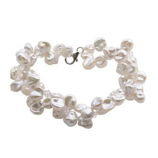 Sterling Silver White Keishi Pearl and Australian Crystal Double Strand Bracelet (7-7.5 mm)
