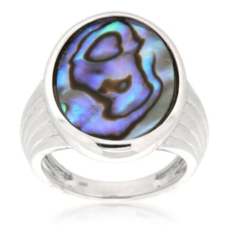 Pearlz Ocean Sterling Silver Rhodium Plated Abalone Shell Pearl Ring