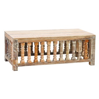 Abigail Lime Wash Trestle Coffee Table
