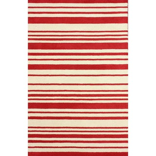 nuLOOM Hand-tufted Modern Stripes Red New Zealand Wool Rug (7'6 x 9'6)