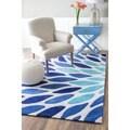 nuLOOM Handmade Modern Leaves Polyester Blue Multi Area Rug (5' x 8')