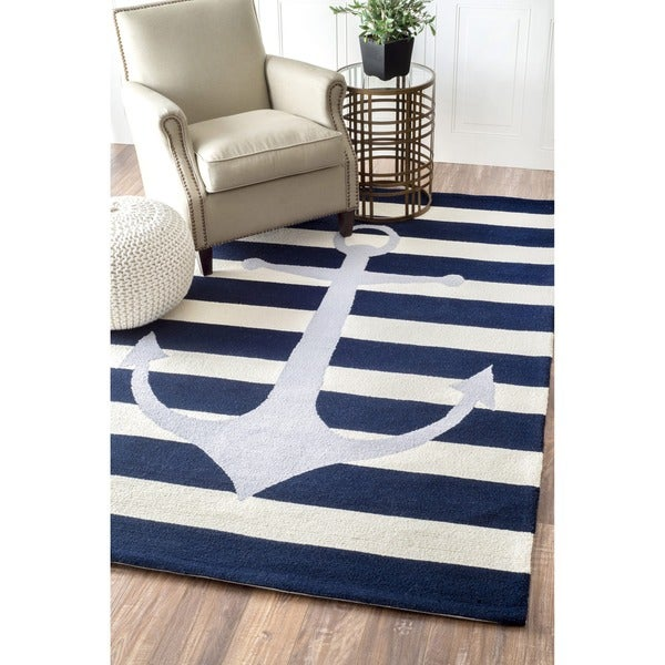 Nuloom Hand Hooked Novelty Stripe Nautical Anchors Blue