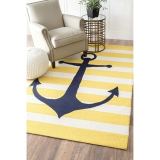 nuLOOM Hand-hooked Novelty Stripe Nautical Anchors Yellow Wool Rug (7'6 x 9'6)