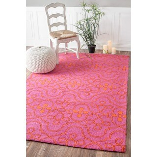 nuLOOM Hand-hooked Transitional Lattice Pink Wool Rug (7'6 x 9'6)