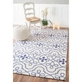 nuLOOM Hand-hooked Transitional Lattice Blue Wool Rug (7'6 x 9'6)