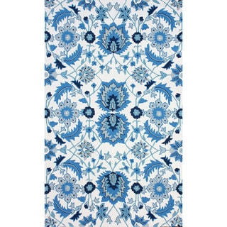 nuLOOM Hand-hooked Wool/ Cotton Open Field Oriental Blue Rug (5' x 8')