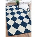 nuLOOM Hand-hooked Diamond Boxes Blue Wool Rug (5' x 8')