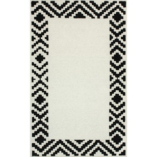 nuLOOM Handmade Wool/ Faux Silk Border Black Rug