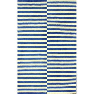 nuLOOM Hand-tufted Modern Stripes Blue New Zealand Wool Rug (7'6 x 9'6)
