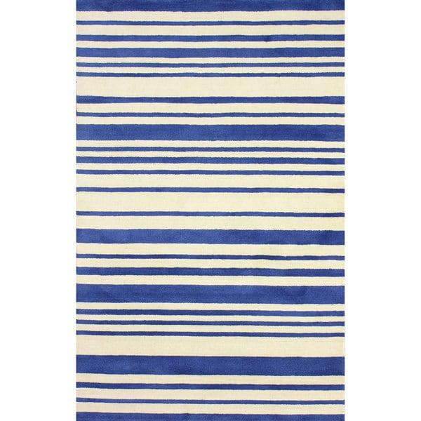 nuLOOM Hand-tufted Modern Stripes Blue New Zealand Wool Area Rug (7'6'' x 9'6'')