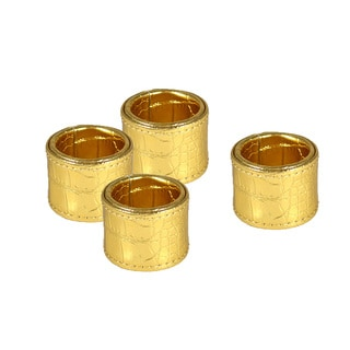 Metallic Gold Crocodile Round Napkin Rings (Set of 4)