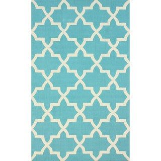 nuLOOM Handmade Alexa Moroccan Trellis Turquoise Wool Rug (5' x 8')
