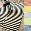 Nuloom Hand-tufted Modern Stripes Dusk Blue New Zealand Wool Area Rug (5' x 8')