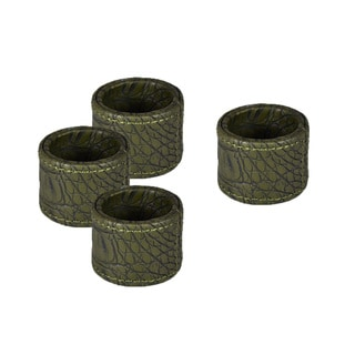 Green Crocodile Round Napkin Rings (Set of 4)