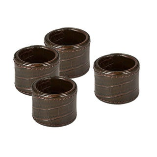 Brown Croc Embossed Napkin Ring Set