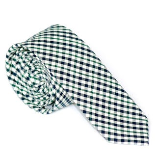 Skinny Tie Madness Men's Navy Plaid Skinny Tie