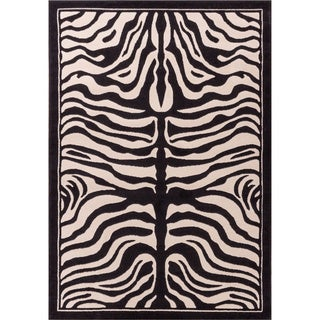 Carved Effect Zebra Print Black, Ivory, and Beige Area Rug (2'7 x 3'11)