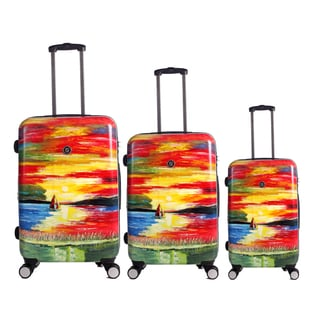 Neocover 'Sailing Through Sunsets' 3-piece Hardside Spinner Luggage Set