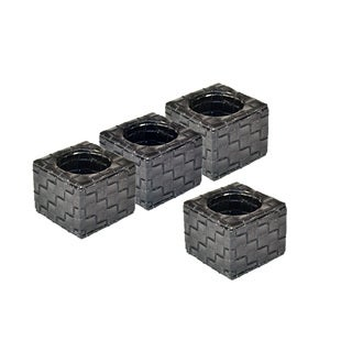Black Weave Faux Leather Square Napkin Rings (Set of 4)