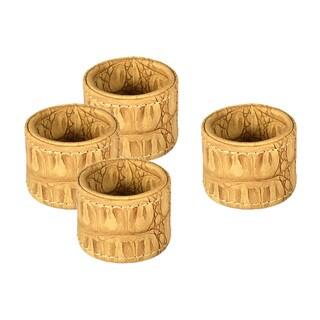 Tan Croc Embossed Napkin Ring Set