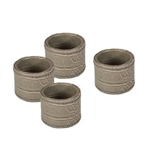 Grey Crocodile Faux Leather Round Napkin Rings (Set of 4)