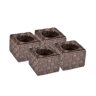 Brown Weave Faux Leather Square Napkin Rings (Set of 4)