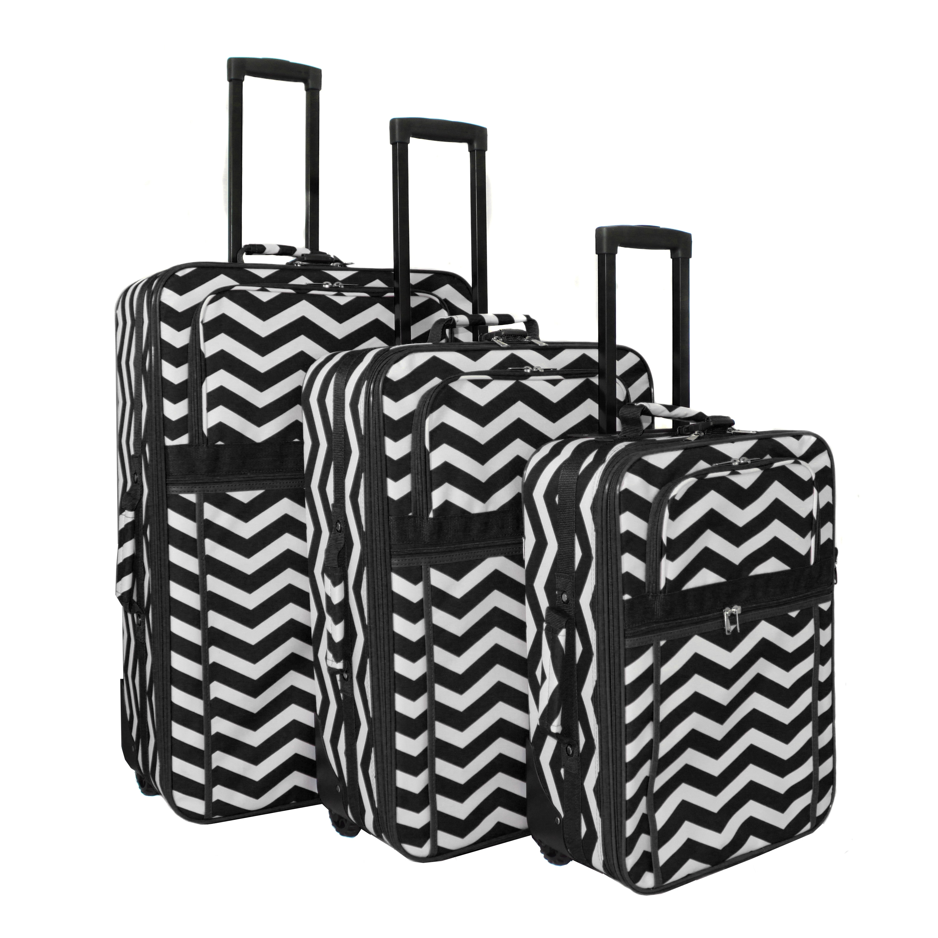 World Traveler Chevron Collection Expandable 3-piece Wheeled Upright Luggage Set