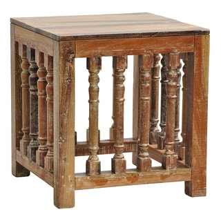 Abigail Lime Wash Trestle End Table