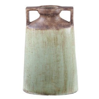Privilege Large Green\ Brown Ceramic Handle Vase