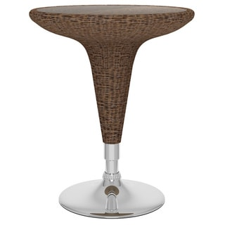 CorLiving T-194-TRD Adjustable Bar Table in Multicolored Brown Round Woven Vinyl