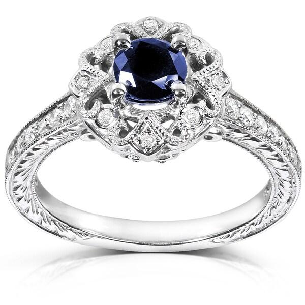 annello 14k white gold cut blue sapphire and