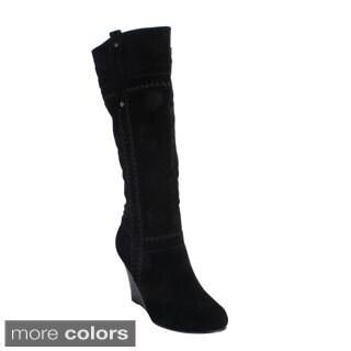 Yoki Women's 'Bonita-71' Black Knee-high Wedge Boots