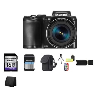 Samsung WB110 20.2MP Black Digital Camera 16GB Bundle