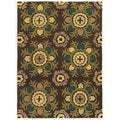 Trio Collection Light Suzani Chocolate Area Rug (8' x 10')