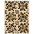 Trio Collection Light Suzani Beige Area Rug (5' x 7')