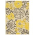 Linon Trio Collection Floral Grey/ Yellow Area Rug (2' x 3')