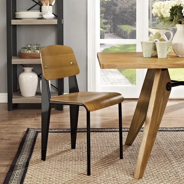 Jean Prouve Style Walnut Finish Standard Chair