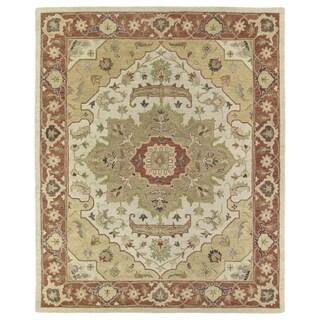 Hand-Tufted Joaquin Heriz Oatmeal Wool Rug (9' x 12')