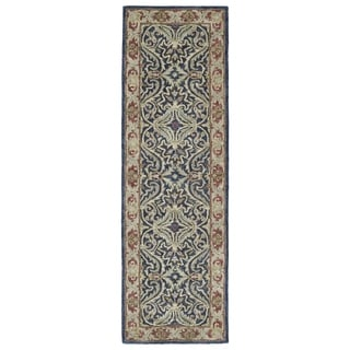 Hand-Tufted Joaquin Blue Agra Wool Rug (2'6 x 8')