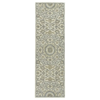 Hand-Tufted Joaquin Oatmeal Medallion Wool Rug (2'6 x 8')